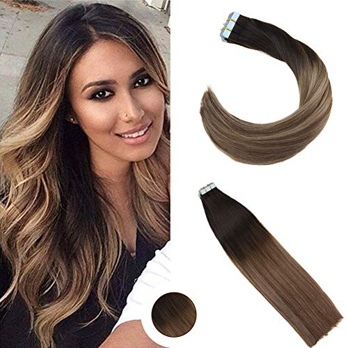 Ugeat 50g non trasformati extensione capelli veri extension biadesivo 55cm 20pcs balayage tape in extensions human hair #1b con #8 a #18