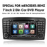 In Dash Double Car Navigazione GPS 2 Din Radio per Mercedes Benz Classe ML W164 2005-2012 e ML300 e ML350 e ML450 e ML500 Lettore DVD DVD Navigazione GPS per auto Unità stereo per PC