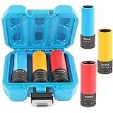 TECPO Kraft Schoneinsätze 3-teilig Alu-Felgen Nuss Set Steckschlüssel Satz Stecknüsse SW 17mm 19mm 21mm