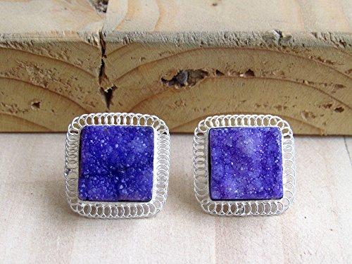 Galaxy Purple Square Druzy Ohrstecker mit Silber Spirale Draht wie Grenze von Enhara Juwelen, Edelstein Ohrstecker (Draht Square Silber)