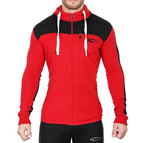 SMILODOX Slim Fit Kapuzenpullover Herren | Zip Hoodie für Sport Fitness Training & Freizeit | Trainingsjacke - Sportpullover - Sweatjacke mit Reißverschluss, Farbe:Rot, Größe:S
