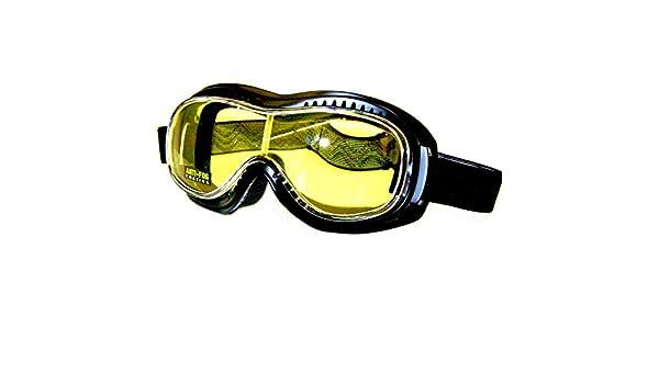 Pi Wear Toronto Kit Motorradbrille Schutzbrille Überbrille Sonnenbrille mit klaren und Gelben Linsen Winddicht für Brillenträger Geeignet mit Polster