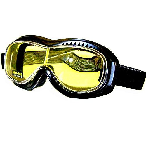 PiWear Toronto Motorradbrille Schutzbrille Überbrille Sonnenbrille mit gelber Linse winddicht für Brillenträger geeignet mit Polster
