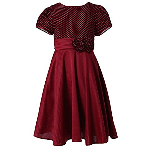 Richie House Big Girls Red Pintuck Dotted Bow Polished Dress 9/10
