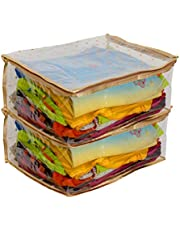 KANUSHI Industries Fully Transparent with Polka Dot Design in Front of Saree Cover/Saree Bag/Storage Bag/Bags for Cloths with Capacity for 10 to 8 Sarees in Each Bag Set of 2 Pcs