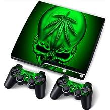 "PS3 Slim Playstation Pegatinas de PVC para la Consola + 2 Controladores Decal Protector Arte ""Green Skull"""