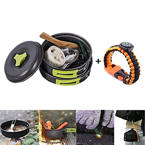 PluieSoleil Camping Cookware Hiking Pans Set 13 in 1 Hiking Cooking Equipment Ultralight with Amazing Accessories Including Survival Bracelet and Multifunctional knife and fork Perfect for 1-3 Person