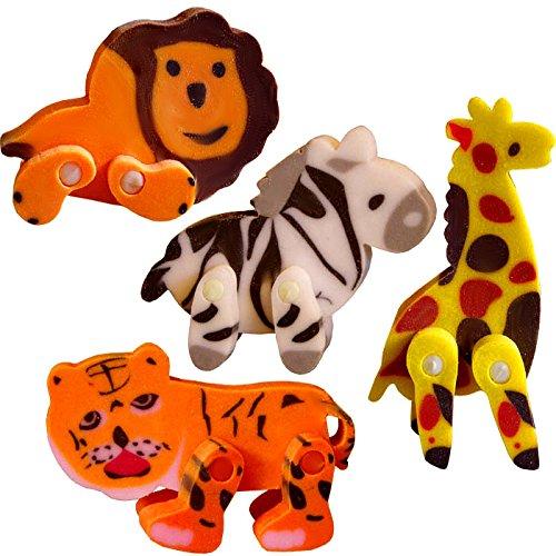 German Trendseller® - 8 x Dschungel Radierer 3D ┃ Zebra ┃ Tieger ┃ Giraffe ┃ Löwe ┃...
