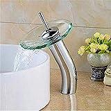 Calda e fredda ottone cromato Rubinetto da cucina rubinetto del bagno con effetto cascata Bacino lavello rubinetto cromato estraibile estrarre vetro frullatore