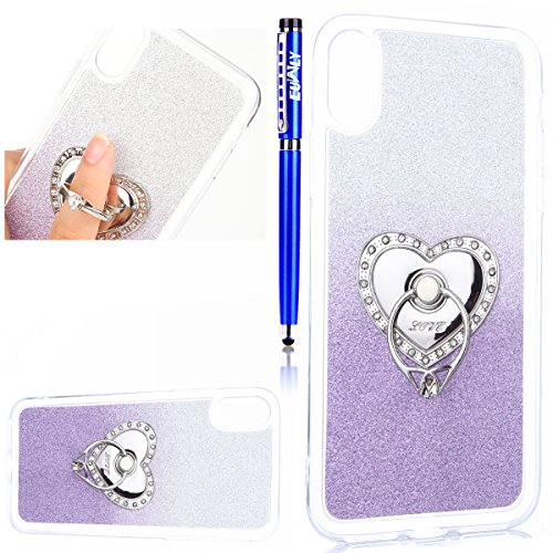 EUWLY Cover per iPhone X, Protettiva Silicone Custodia Per iPhone X TPU Copertura Cover Case Lusso Glitter Bling Brillante Trasparente Silicone TPU Cover Custodia con Finger Ring Grip Holder Stand pro Blu Scuro Bianca