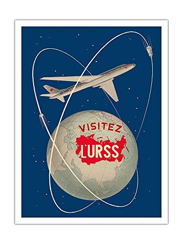 Pacifica Island Art - Besuchen Sie die UDSSR - Sowjetische Sputnik-Satelliten - Russisches Antonov Flugzeug - Retro Weltreise Plakat von Anatoliy Antonchenko c.1958 - Giclée Kunstdruck 30.5 x 41 cm -