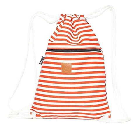 Original ♡ T-BAGS Thailand Turnbeutel Hipster | 18 coole Designs | mit Reißverschluss | Baumwoll Beutel mit hohem Tragekomfort (Streifen