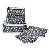 Organizadores para Maletas,Set de 6 Organizadores Viaje Impermeable para Ropa,Material Nylon,Azul...