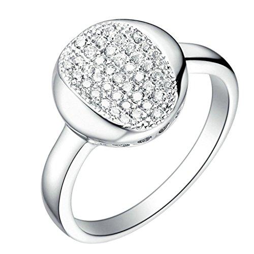 Daesar Versilbert Damen Ring Silber Verlobungsring mit Stein Zirkonia Ringe Runde Cut Promise Ring für Damen Größe:52 (Haar Kostüm Nerd)