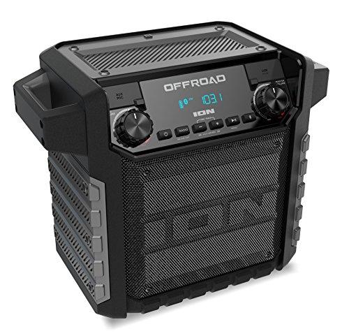 ION Audio Offroad - 50 Watt Outdoor-Lautsprecher mit langlebigem Akku, wasserabweisenden Design IPX4, Bluetooth, USB-Anschluss zum Aufladen, Aux-Eingang und Mikrofon