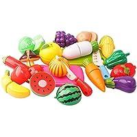 Nykkola - Juego de frutas y verduras de plástico para niños, para cocina, pretendido, juego educativo de juguete para niños pequeños 20 Pieces With 2 Board and 2 Knife