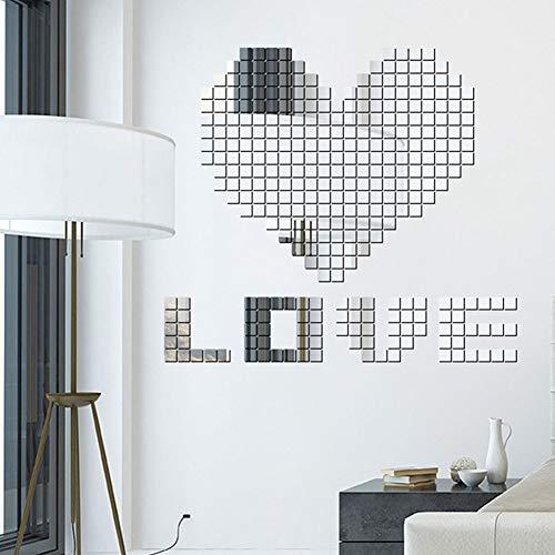 Qiyun idee matrimonio,decorazioni per interni,100pcs 2x2cm adesivo da parete effetto specchio per mosaico fai da te in argento adesivo da parete in acrilico argento per la casa