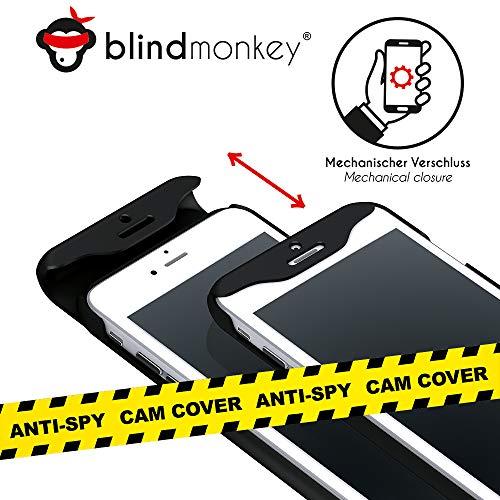 blindmonkey No-Spy Handyhülle für iPhone 8, 7, 6 & 6s, GRATIS Schutzglas, dünne Schiebehülle, Cam Cover - Anti Hacking - Anti-Spy - NEUHEIT -