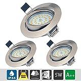 Faretti LED da incasso Dimmerabili e Orientabile, Plafoniere Ultrasottili da Soffitto per l'illuminazione da interno, 5W, Luce Bianco Caldo 3000K, 550LM, 230V, IP44 (Confezione da 3)