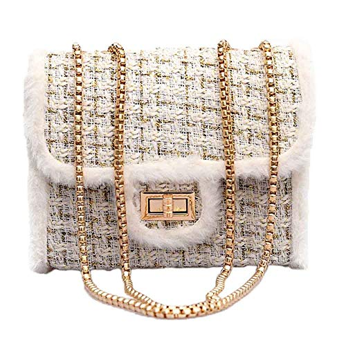 HCFKJ Tasche, Weiblicher Kette Square Bag Casual Samt Umhängetasche Lock Diagonal Cross Bag (WH)