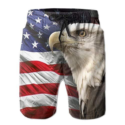 dfegyfr Bald Eagle Men's/Boys Casual Swim Trunks Short Elastic Waist Beach Pants Pockets -