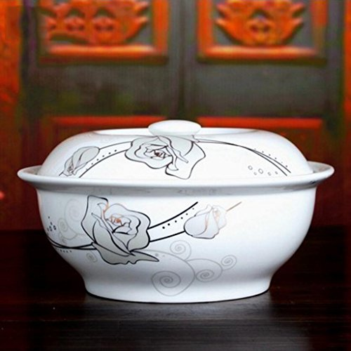 MXJ61 Bol de Soupe de céramique de 9 Pouces Grande Maison avec Couvercle Soupe Bol de Salade Bol de légumes Bol (Couleur : A)