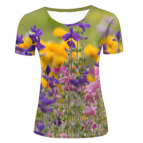 ouzhouxijia Mens 3D Printed T-Shirts Pink and Purple Flowers On The Field Graphics Couple Tees D