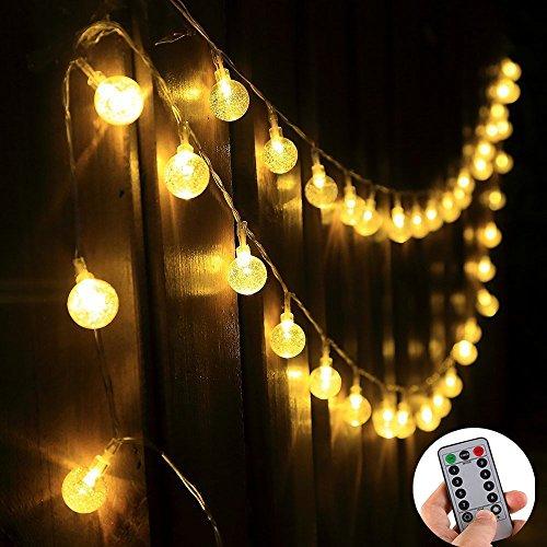 fourHeart 4.5M 40 LED Kugel Lichterkette + Fernbedienung & Timer, 8 Mode Wasserdicht IP65 Lichtschlauch Kugeln Innen und außen, Warmweiß batteriebetrieben Globe String Licht Weihnachtsbeleuchtung Dekoration für Party Weihnachten Hochzeit Valentinstag