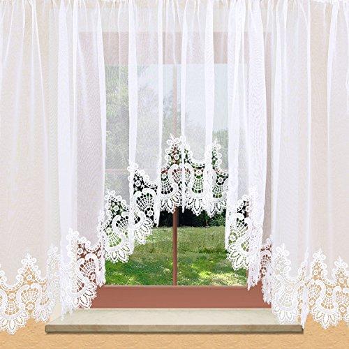Stores von kollektion.MT Edler Blumenfenster-Store Safira weiß mit aufwändig eingearbeiteter 19cm breiter Spitzenkante aus Echter Plauener Spitze mit Reihband Fertiggardine