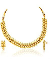 Spargz New Designer Gold Plated Brass Metal Choker Necklace Set For Women