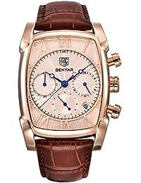 BENYAR Chronograph Men's Watch (Gold Dial Brown Colored Strap)