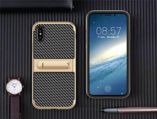 iPhone X Hülle, MOONMINI Weich TPU Silikon Schale + Hard PC Bumper Dual Layer Hybrid Handy Tasche Case Slim Stoßfest Schutzhülle Abdeckung Handycover mit Standfunktion für iPhone X Grün Blau