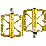RockBros, pedali da bicicletta piatti da MTB/BMX/downhill, 3cuscinetti integrati, superficie grande e ampia, 1,4 cm, gold