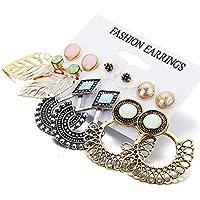 Shining Diva Fashion 6 Pairs Combo Stylish Drop Earrings for Women (Silver Gold)(9919er)