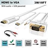 HDMI zu VGA Kabel mit Audio 3M, FOINNEX HDMI auf VGA (D-Sub) Konverter Kabel zum Anschluss von PC, Laptop, DVD, Xbox 360 One, PS4/PS3, TV-Box zu TV, Monitor, Projektor mit 15-Pin VGA Eingang,1080P