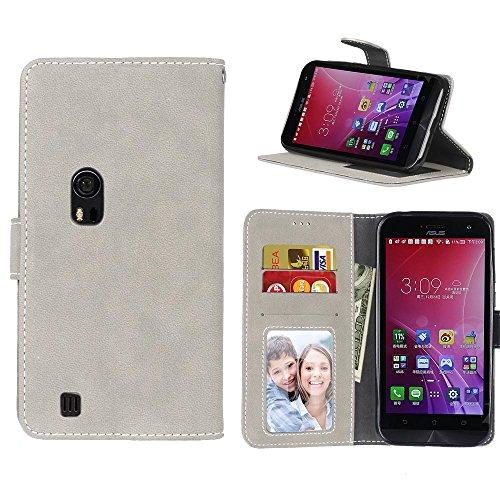 MOONCASE Zenfone Zoom ZX551ML Hülle Matte Retro Tasche Magnetisch Leder Schutzhülle Klappetui Brieftasche Case mit Standfunktion für Asus Zenfone Zoom ZX551ML 5.5
