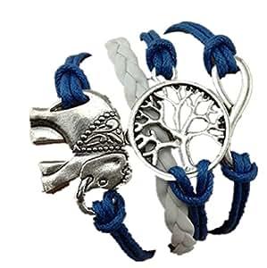 Amonfineshop Handmade Charms Tree Elephant Knit Leather Rope Chain Bracelet Gift