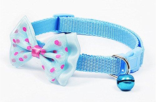 FlyInIt Pet Collar Adjustable Bow-Tie Dog Cat Collar with Bell Breakaway Buckle Bowknot (Blue)