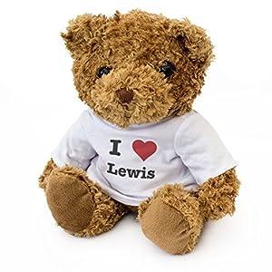 London Teddy Bears Oso de Peluche con Texto en inglés I Love Lewis, Bonito y Adorable, Regalo de cumpleaños, Navidad, San Valentín