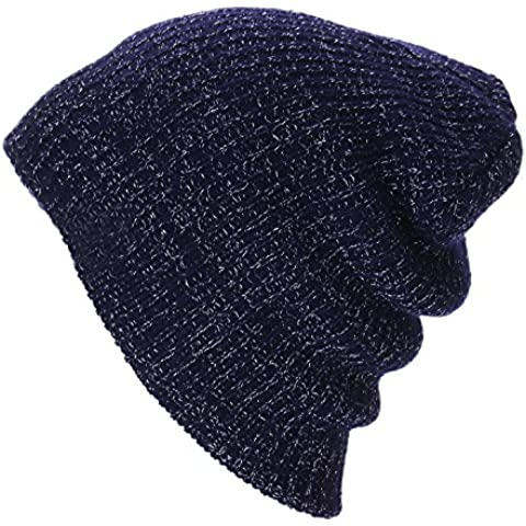Thenice Cappello Beanie Unisex Inverno Berretto in maglia (Blu (navy))