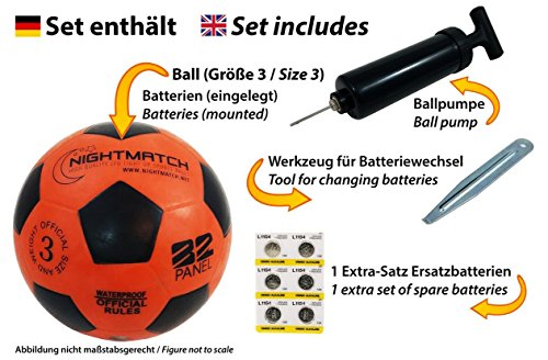 NIGHTMATCH Light Up Football - Kids Edition - INCL  BALL PUMP and SPARE BATTERIES - Inside LED lights up when kicked - Glow in the Dark Soccer Ball - Youth Size 3 - Official Size   Weight - or bl
