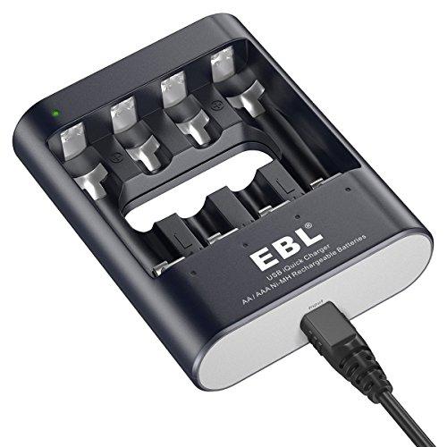 EBL Intelligent 40Min USB Schnell-Akkuladegerät mit LED Anzeig für AA AAA Ni-MH wiederaufladbare Akkus (Usb Batterie Aa)
