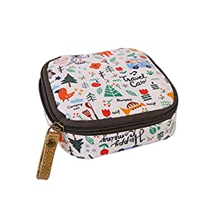 Albeey waterproof sanitary napkin cosmetic storage bag purse with zipper (forest)