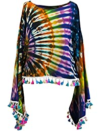 CCcollections Tie Dye Groovy Colors 2in1 Poncho Wrap Shawl Bohemian Hippie  Festival Beachwear 4d1b05e997f1