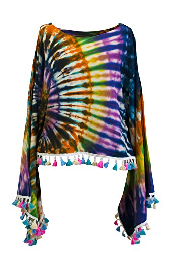 CCcollections Krawatte Groovy Colors 2in1 Poncho Wrap Böhmische Hippie Festival Beachwear (Colourful ()