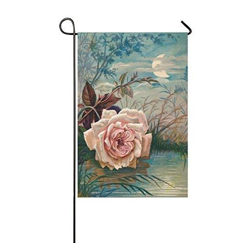 (interestprint Blume Rose im Mond Licht reflektiert Lange Polyester Garten Flagge Banner Fahne Deko 30,5x 45,7cm, Muttertag für Hochzeitstag/für Home Outdoor Garden Decor)