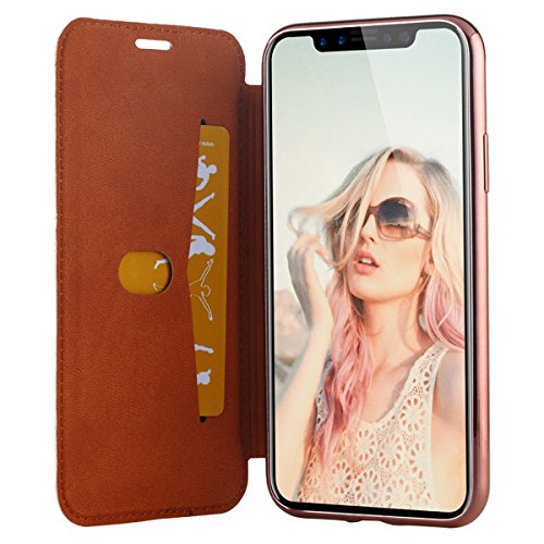 Snewill Custodia iPhone X,Custodia iPhone 10 Glitter Shiny Bling Slim PU Leather Folio Flip Case with Card Slot & Clear Soft TPU Back Cover for Apple iPhone X - Black Rose Gold