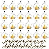 Mini Colgante De Cristal Tealight Candle, Globos De Cristal con La Vela del LED, Diámetro De Los 6cm, Decoración del Árbol del Banquete De Boda (20 Piezas + 4 Piezas)