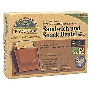 If You Care Sandwich und Snackbeutel 100% ungebleicht für Pausenbrote, Wanderjausen etc. , 2er Pack (2 x 48 Stück)