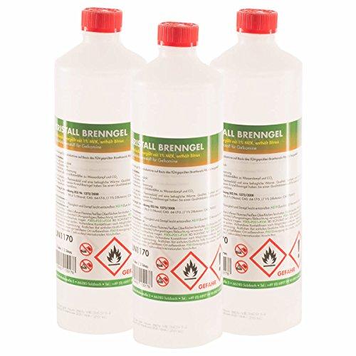6 x 1 L Kristall Brenngel Premium - in handlichen 1 L Flaschen - VERSANDKOSTENFREI - sicherer Gebrauch - Vorrat